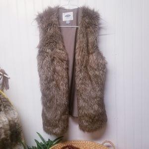 Old Navy Brown Faux Fur Vest Jacket Size XS